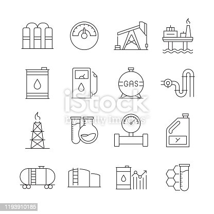 Simple Set of Oil Industry Related Vector Line Icons. Outline Symbol Collection. Editable Stroke