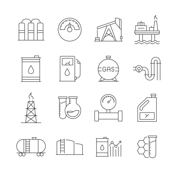 illustrazioni stock, clip art, cartoni animati e icone di tendenza di simple set of oil industry related vector line icons. outline symbol collection. editable stroke - benzina