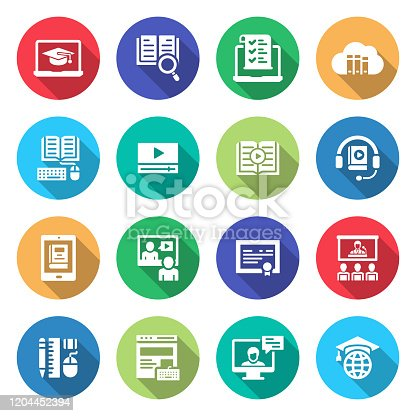 Simple Set of Online Education Related Vector Icons. Symbol Collection.