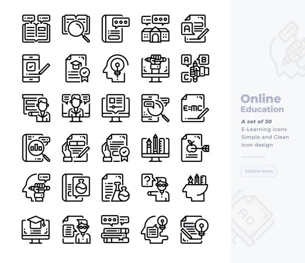 Simple Set of Online Education.Vector  Icons. Editable Stroke. 48x48 Pixel Perfect Vector  Icons. Editable Stroke. 48x48 Pixel Perfect topics stock illustrations