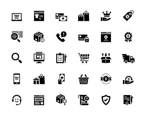 Simple Set of Online Marketplace Related Vector Icons. Symbol Collection.