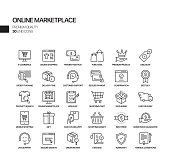 Simple Set of Online Marketplace Related Vector Line Icons. Outline Symbol Collection.