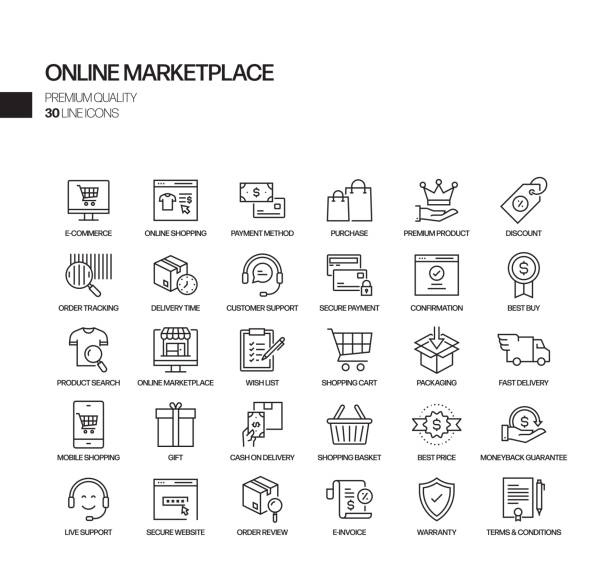 Simple Set of Online Marketplace Related Vector Line Icons. Outline Symbol Collection. Simple Set of Online Marketplace Related Vector Line Icons. Outline Symbol Collection. ordering stock illustrations