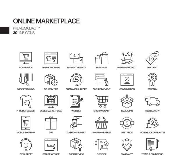 bildbanksillustrationer, clip art samt tecknat material och ikoner med enkel uppsättning online marketplace relaterade vektor linje ikoner. samling med dispositionssymboler. - on demand