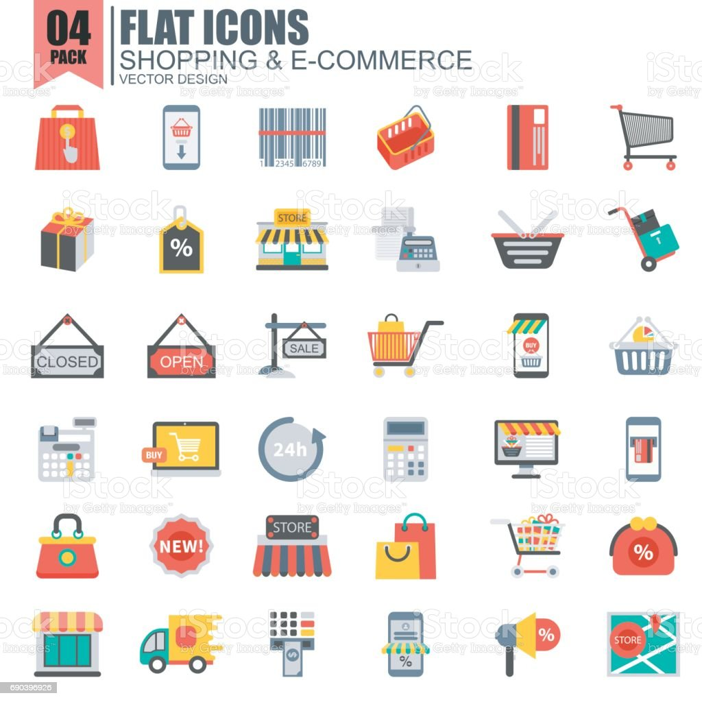 Simple set of online shopping flat icons vector art illustration