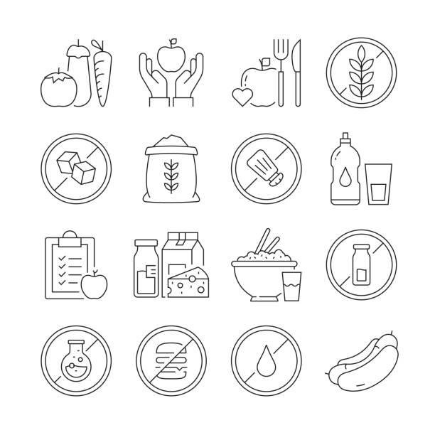bildbanksillustrationer, clip art samt tecknat material och ikoner med enkel uppsättning av ekologiska livsmedel och hälsa nutrition relaterade vektor linje ikoner. samling med dispositionssymboler. redigerbar stroke - omega 3