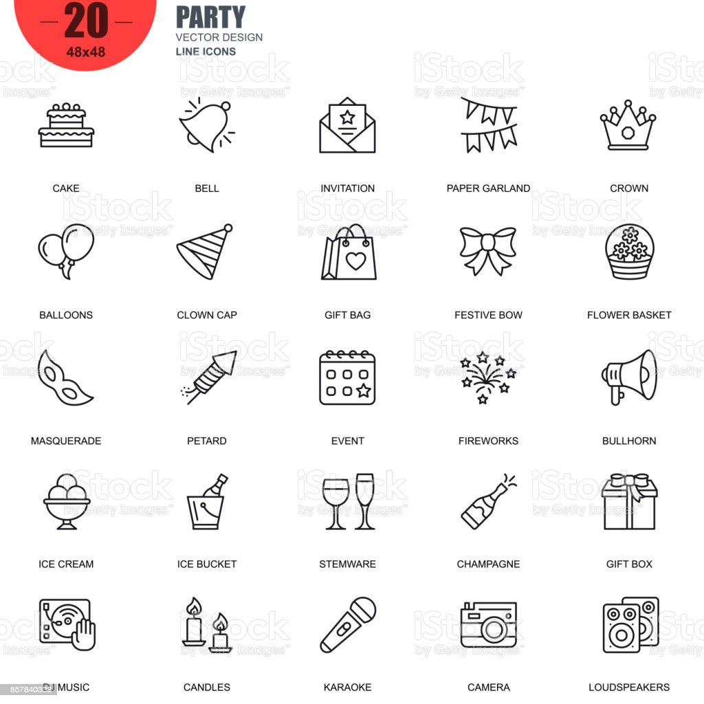 Simple set of party related vector line icons