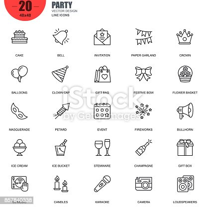 Simple Set of Party Related Vector Line Icons. Contains such Icons as Cake, Bell, Fireworks, Dj Music, Champagne, Gift Bag, Masquerade, Bullhorn and more. Editable Stroke. 48x48 Pixel Perfect.