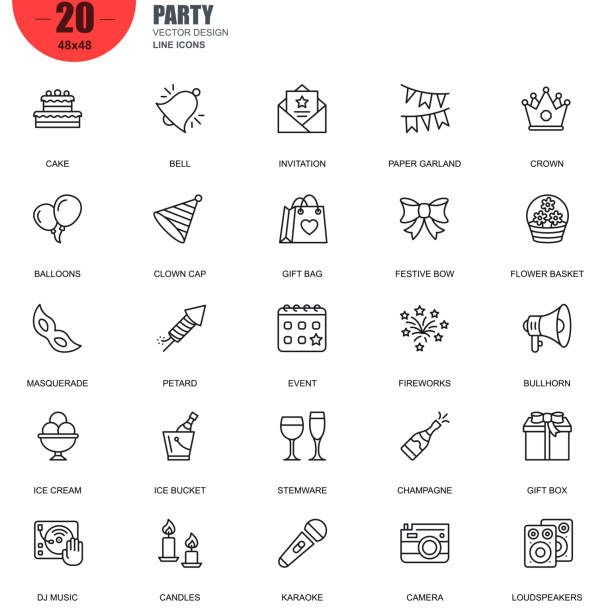 Simple set of party related vector line icons vector art illustration