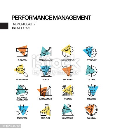 Simple Set of Performance Management Related Spotlight Vector Line Icons. Outline Symbol Collection