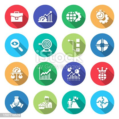 Simple Set of Performance Management Related Vector Flat Icons. Symbol Collection