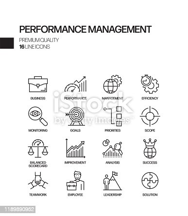 Simple Set of Performance Management Related Vector Line Icons. Outline Symbol Collection
