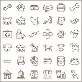 Contains such Icons as dog , puppy, parrot, catling, cat, bone, paw print, pet collar And Other Elements. customize color, stroke width control , easy resize.