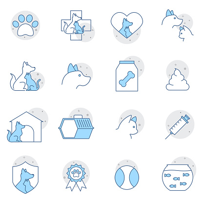 Simple Set of Pet Related Vector Line Icons. Contains such Icons as Collar, Toys, Pet Food and more. Premium symbols isolated on a white background.