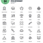 Simple set of pets and veterinary vector line icons