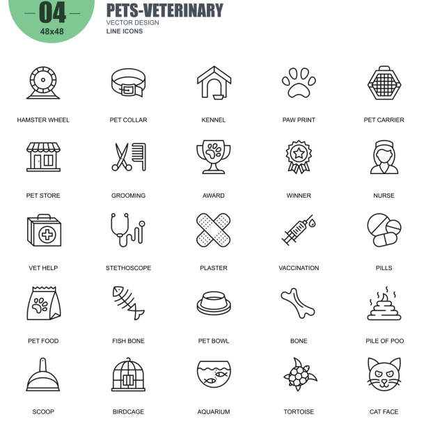 simple set of pets and veterinary vector line icons - veterinarian stock illustrations, clip art, cartoons, & icons