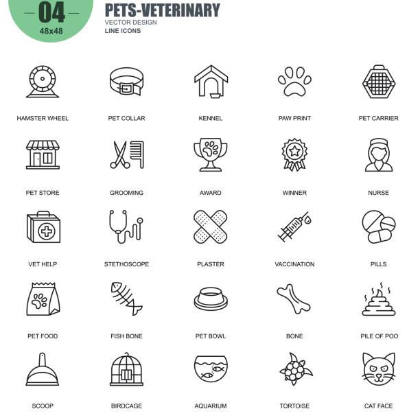 ペットと獣医のベクトル線アイコンの簡単なセット ベクターアートイラスト
