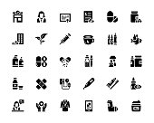 Simple Set of Pharmacy Related Vector Icons. Symbol Collection.