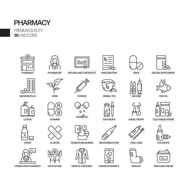 Simple Set of Pharmacy Related Vector Line Icons. Outline Symbol Collection. Simple Set of Pharmacy Related Vector Line Icons. Outline Symbol Collection. pharmacy stock illustrations