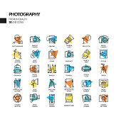 Simple Set of Photography Related Spotlight Vector Line Icons. Outline Symbol Collection.