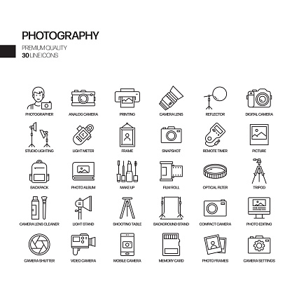 Simple Set of Photography Related Vector Line Icons. Outline Symbol Collection.