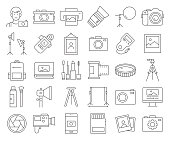 Simple Set of Photography Related Vector Line Icons. Outline Symbol Collection. Editable Stroke