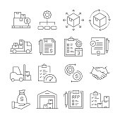 Simple Set of Procurement Process Related Vector Line Icons. Outline Symbol Collection. Editable Stroke