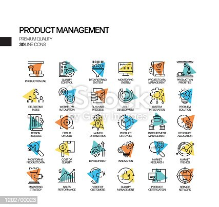 Simple Set of Product Management Related Spotlight Vector Line Icons. Outline Symbol Collection.
