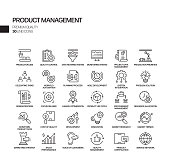 Simple Set of Product Management Related Vector Line Icons. Outline Symbol Collection.