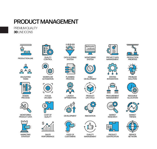 simple set of product management related vector line icons. outline symbol collection. - entrepreneurship stock illustrations