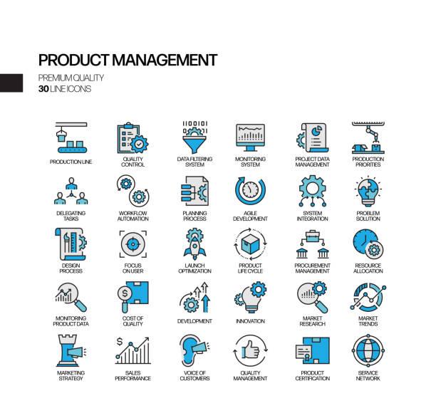 ilustrações, clipart, desenhos animados e ícones de conjunto simples de ícones de linha vetorial relacionados ao gerenciamento de produtos. coleção de símbolos de contorno. - entrepreneurship