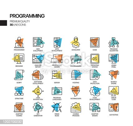 872677410 istock photo Simple Set of Programming Related Spotlight Vector Line Icons. Outline Symbol Collection. 1202700232