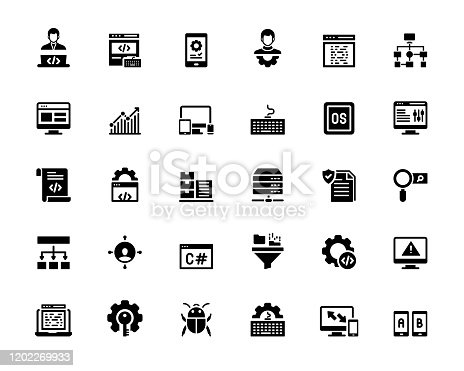 872677410 istock photo Simple Set of Programming Related Vector Icons. Symbol Collection. 1202269933