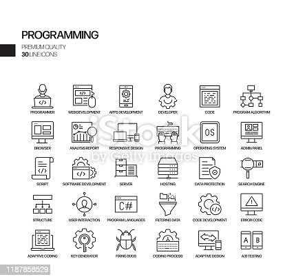 872677410 istock photo Simple Set of Programming Related Vector Line Icons. Outline Symbol Collection. 1187858529