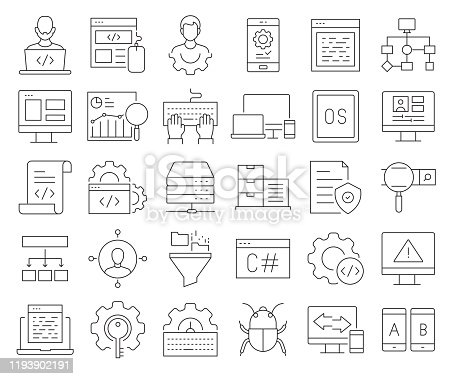 872677410 istock photo Simple Set of Programming Related Vector Line Icons. Outline Symbol Collection. Editable Stroke 1193902191