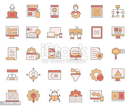 872677410 istock photo Simple Set of Programming Related Vector Line Icons. Outline Symbol Collection. 1200967269