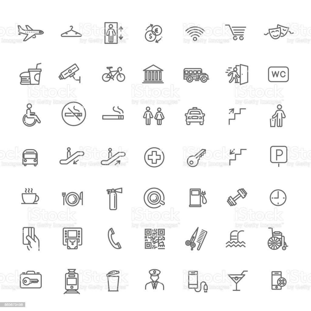 Simple Set of Public Navigation Related Vector Line Icons vector art illustration