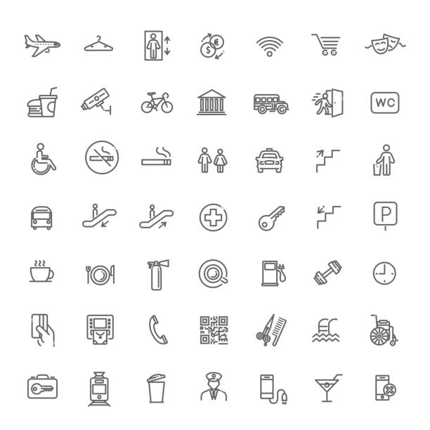 Simple Set of Public Navigation Related Vector Line Icons Public place navigation vector icons. Toilet, restaurant and elevator pictograms. airport symbols stock illustrations
