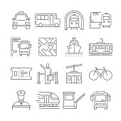 Simple Set of Public Transport Related Vector Line Icons. Outline Symbol Collection. Editable Stroke