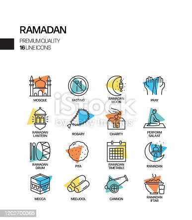 Simple Set of Ramadan Kareem Related Spotlight Vector Line Icons. Outline Symbol Collection.