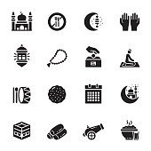 Simple Set of Ramadan Kareem Related Vector Icons. Symbol Collection.