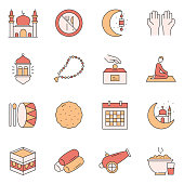 Simple Set of Ramadan Kareem Related Vector Line Icons. Outline Symbol Collection.