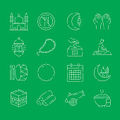 Simple Set of Ramadan Kareem Related Vector Thin Line Icons. Outline Symbol Collection.