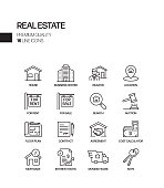 Simple Set of Real Estate Related Vector Line Icons. Outline Symbol Collection.