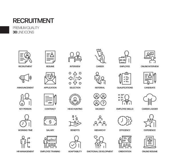 Simple Set of Recruitment Related Vector Line Icons. Outline Symbol Collection. Simple Set of Recruitment Related Vector Line Icons. Outline Symbol Collection. vacancy stock illustrations