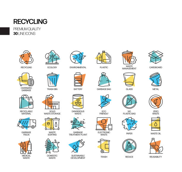 simple set of recycling related spotlight vector line icons. outline symbol collection - sustainability icons stock illustrations