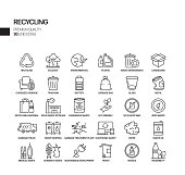Simple Set of Recycling Related Vector Line Icons. Outline Symbol Collection