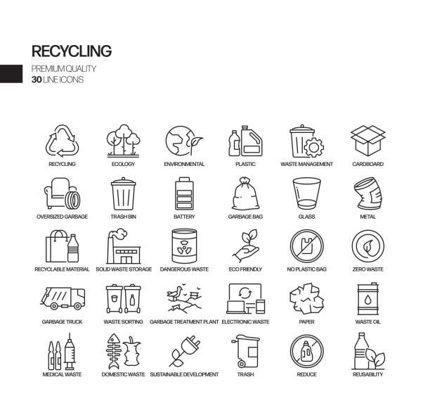illustrazioni stock, clip art, cartoni animati e icone di tendenza di semplice set di icone di linea vettoriale correlate al riciclaggio. insieme outline symbol - riutilizzabile