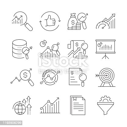 Simple Set of Research and Analysis Related Vector Line Icons. Outline Symbol Collection. Editable Stroke