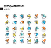 Simple Set of Restaurant Related Spotlight Vector Line Icons. Outline Symbol Collection